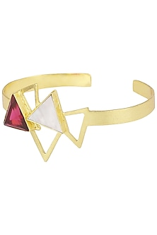 Gold Plated Pink Quartz Embellished Bracelet by Varnika Arora