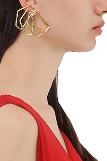 Gold Plated Geometric Roulade Earrings by Varnika Arora