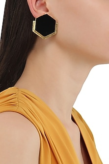 Gold Plated Black Orchard Stud Earrings by Varnika Arora