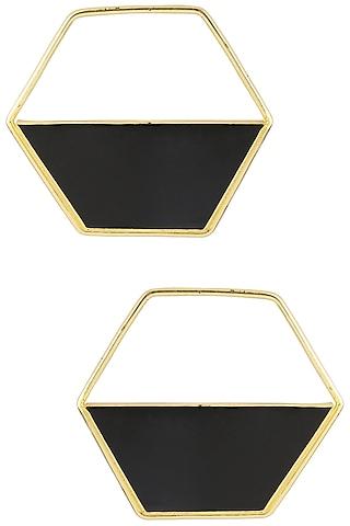 Gold Plated Black Airfoil Hoop Earrings by Varnika Arora