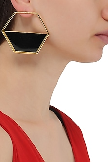 Gold Plated Black Airfoil Hoop Earrings by Varnika Arora