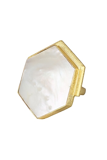 Gold Plated White Orchard Ring by Varnika Arora