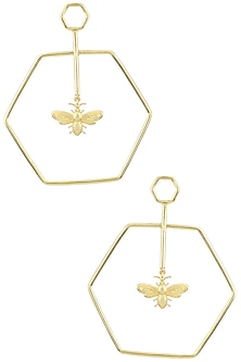 Gold Plated Hexagon Bee Dune Earrings by Varnika Arora