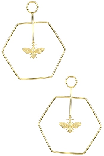 Gold Plated Hexagon Bee Dune Earrings by Varnika Arora