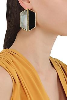 Gold Plated Black Egg Stud Earrings by Varnika Arora