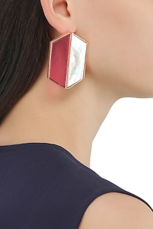 Rose Gold Plated Pink and White Egg Stud Earrings by Varnika Arora