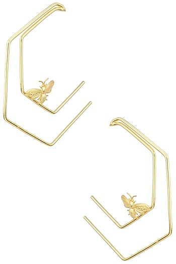 Gold Plated Double Line Killer Bee Hoop Earrings by Varnika Arora