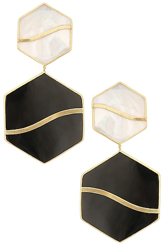 Gold Plated Black and White Mini Pupa Earrings by Varnika Arora