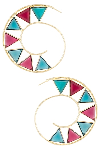 Gold plated blue and pink quartz stone hoop earrings by Varnika Arora