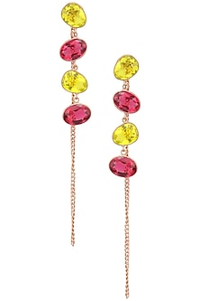 Rose gold plated Rill Earrings by Varnika Arora