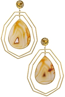Gold plated Lattice Earrings  by Varnika Arora