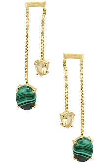 Gold plated Pine Earrings by Varnika Arora