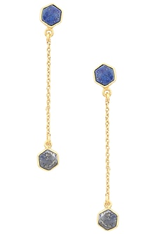 Gold Plated Lapis Stone Dangly Earrings by Varnika Arora