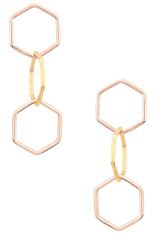 Dual Finish Rose Gold Plated Hexagon Chainmail Earrings by Varnika Arora