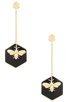 Gold Plated Hexagonal Onyx Stone Bug Earrings by Varnika Arora
