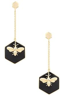 Gold Plated Hexagonal Onyx Stone Bug Earrings by Varnika Arora