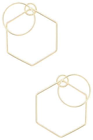 Gold Plated Geometric Nucleus Earrings by Varnika Arora