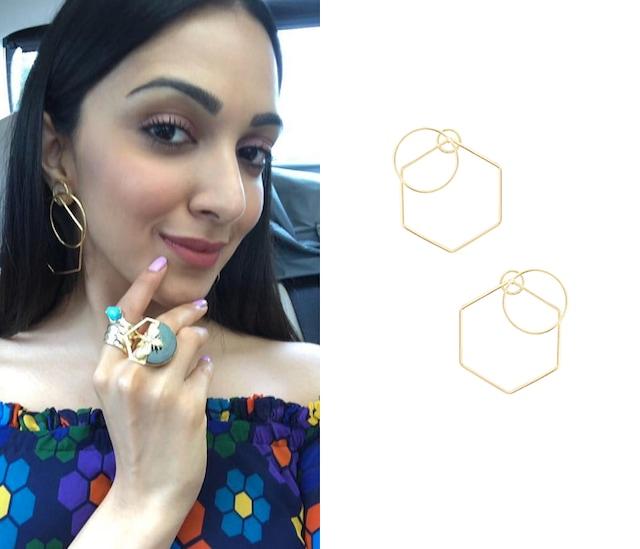 Gold Plated Geometric Nucleus Earrings by Varnika Arora