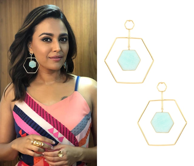 Gold Plated Amazonite Stone Honey Dune Earrings by Varnika Arora