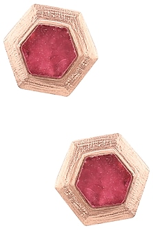 Rose Gold Plated Hydro Pink Quartz Gypsy Earrings by Varnika Arora