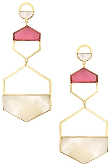 Gold Plated Pink Quartz Larva Earrings by Varnika Arora