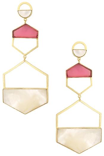 Gold Plated Pink Quartz Larva Earrings by Varnika Arora