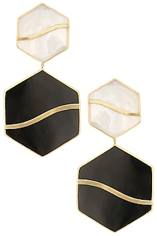 Gold Plated Black Onyx Pupa Earrings by Varnika Arora