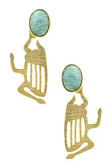 Gold Plated Amazonite Semi Precious Stone Statement Earrings by Varnika Arora