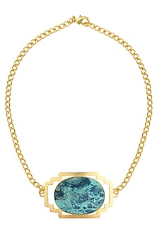 Gold Plated Shattakatite Semi Precious Stone Choker Statement Necklace by Varnika Arora