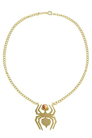 Gold Plated Mookite Semi Precious Stone Choker Statement Necklace by Varnika Arora