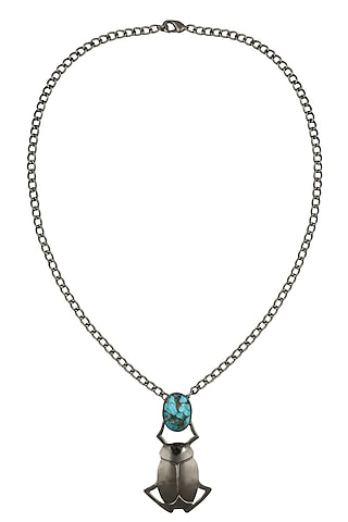 Black Plated Blue Mohave Turquoise Insect Pendant Statement Necklace by Varnika Arora