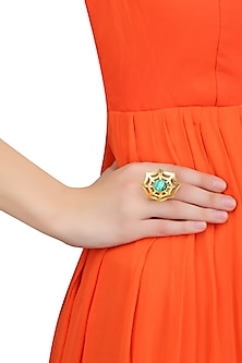 Gold Plated Malachite Semiprecious Stone Statement Spider Ring by Varnika Arora