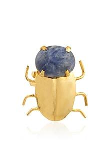 Gold Plated Sodalite Semiprecious Stone Statement Beetle Ring by Varnika Arora