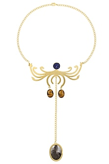 Gold Plated Tiger Eye and Lapis Lazuli Statement Necklace by Varnika Arora