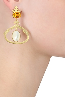 Gold Plated Empress's Citrine and Mother Of Pearls Earrings by Varnika Arora