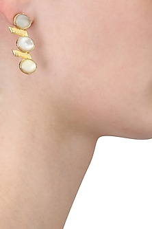 Gold Plated Empress's White Mother Of Pearls Drop Earrings by Varnika Arora