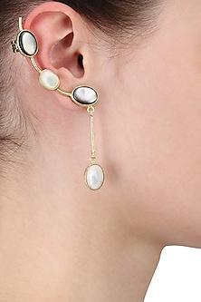 Gold Plated Empress's Mix Of White and Black Mother Of Pearls Ear Cuffs by Varnika Arora