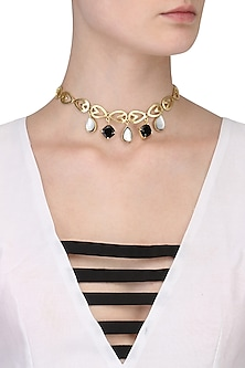 Gold Plated Consort's Black Onyx and White Mother Of Pearls Choker by Varnika Arora