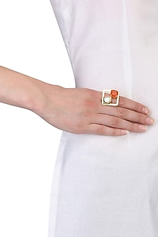 Gold Plated Queen's Carnelian and Black Mother Of Pearls Ring by Varnika Arora