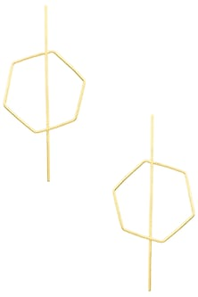 Gold Finish Hexagon Stinger Earrings by Varnika Arora