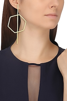 Gold Finish Hexagon Stinger Earrings by Varnika Arora
