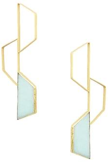 Gold Finish Amazonite Trapezium Bee Earrings by Varnika Arora