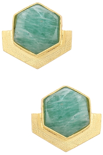 Gold Finish Blue Amazonite Orchard Studs by Varnika Arora