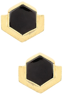 Gold Finish Black Onyx Orchard Studs by Varnika Arora