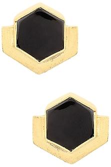 Gold Finish Black Onyx Orchard Studs by Varnika Arora
