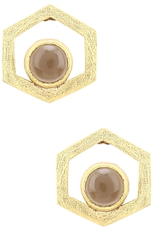 Gold Finish Hydro Smokey Quartz Bee Cell Studs by Varnika Arora