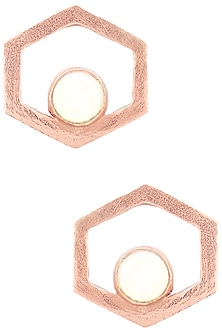 Rose Gold Finish Bee Cell Studs by Varnika Arora