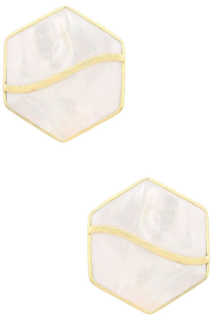Gold Finish White Mother Of Pearl Hexagon Earrings by Varnika Arora