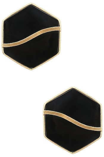 Gold Finish Black Mother Of Pearl Hexagon Earrings by Varnika Arora