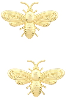 Gold Finish Bee Motif Earrings by Varnika Arora